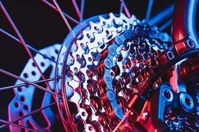 Close up of gears on a bike